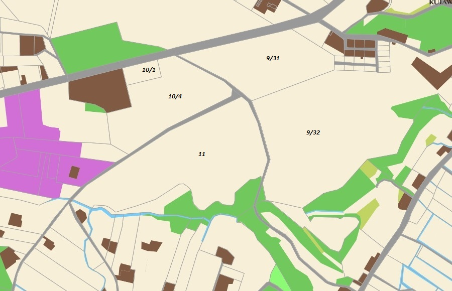 Działki: 10/1 - 0,5 ha, 10/4 - 4,6 ha, 11 - 8,9 ha.