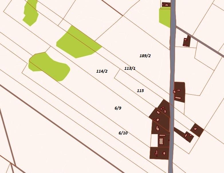 Działki: 189/2 - 6 ha, 118/1 - 1 ha, 114/2 - 3,5 ha, 115 - 1,5 ha, 6/9 - 6, ha, 6/10 - 4 ha).
