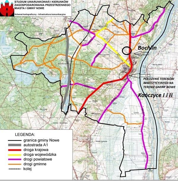 Położenie zaproponowanych terenów inwestycyjnych na mapie gminy Nowe.