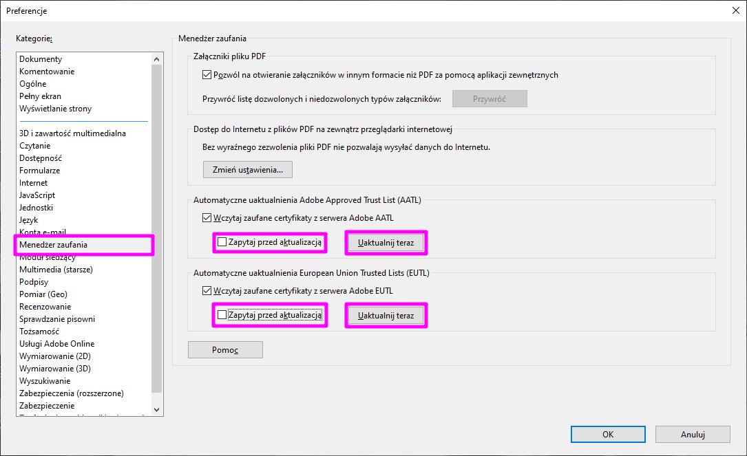 Adobe Acrobat Reader DC Ustawienia