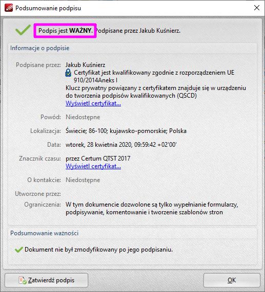 PDF XChange Editor Poprawna Weryfikacja